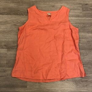 LL Bean Orange Linen Tank Top Size L